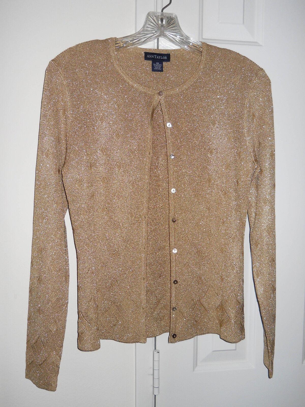 Nice 4 Holiday Ann Taylor gold Metallic Cardigan Cardigan Cardigan Buttondown Sweater XS Occasion 3264bd