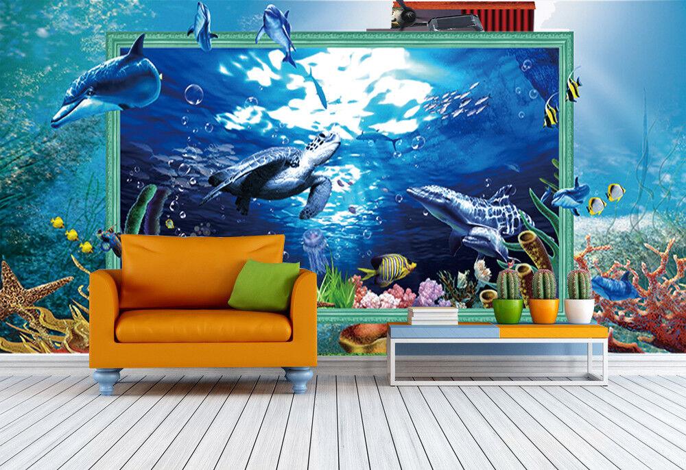 3D bluee Sea Turtles 84 Wall Paper Murals Wall Print Wall Wallpaper Mural AU Kyra