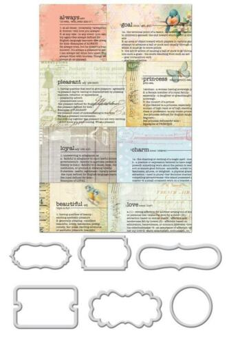 Prima Newsprint 6 metal Mini Frames Divine Title card making gold tone