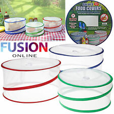 3 x COLLAPSIBLE POP UP FOOD COVERS OUTDOOR PICNIC PROTECTORS KITCHEN INSECT NET