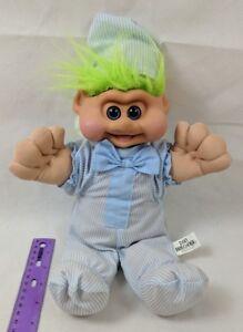 Vintage Dan Brechner Plush Toys Baby Troll Doll, Green Hair, Blue Striped PJs - Deutschland - Vintage Dan Brechner Plush Toys Baby Troll Doll, Green Hair, Blue Striped PJs - Deutschland