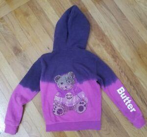 BUTTER-Kids-Girl-039-s-Zip-Sweatshirt-Hoodie-with-studded-teddy-bear-Sz-6