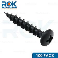 """100 Pack #8 x 1"""" COARSE DEEP THREAD PAN HEAD SCREWS BLACK PHOSPHATE WOOD MDF"""
