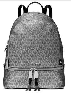 1a21c84207e2 New Michael Kors Rhea Zip Medium Backpack silver black Trim Glam ...