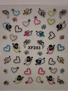 Adesivi-per-unghie-FANTASIA-con-STRASS-3D-nail-art-RHINESTONE-FANCY-stickers-XF