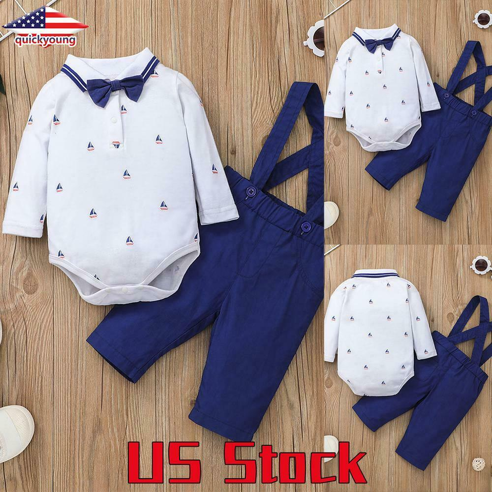 Newborn Baby Boy Long Sleeve Romper Shirt Tops+Overalls Strappy Pants Clothes