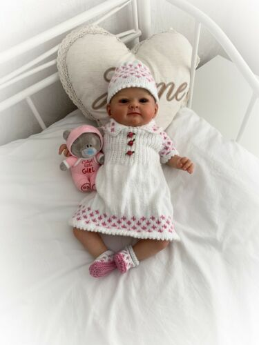 "/""PRATO/"" Romper /& Dress Set Knitting pattern per Bambola Reborn 16-22/"" o 0-3 MTH"