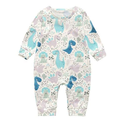 Newborn Infant Baby Boy Girl Romper Jumpsuit Playsuit Clothes Print Long Sleeve