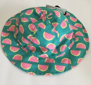 Watermelon Sun Hat 6-18M Baby Toddler Girl NEW Green Pink Yellow UPF ... 6b58d72d0af5