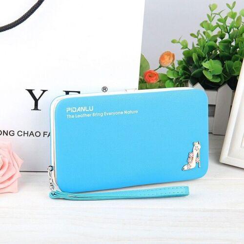 Womens Ladies Envelope Clutch Leather Wallet Card Button Purse Long Handbag Bag