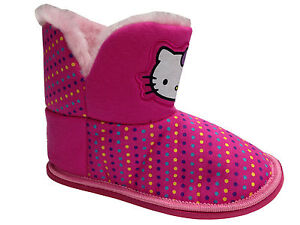 Girls-Pink-Hello-Kitty-Novelty-Bootee-Slippers-Fur-Lined-Novelty-Bedroom-Home