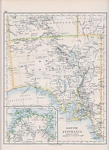 Map Of South Australia And Northern Territory.1931 Map South Australia Adelaide Eyre S Peninsula Inset