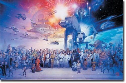 STAR WARS ENTIRE CAST OF CHARACTERS GALAXY POSTER NEW 36X24 FREE SHIPPING