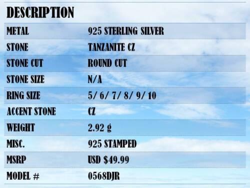 INCREDIBLE TANZANITE 925 STERLING SILVER BAND RING SIZE 5-10