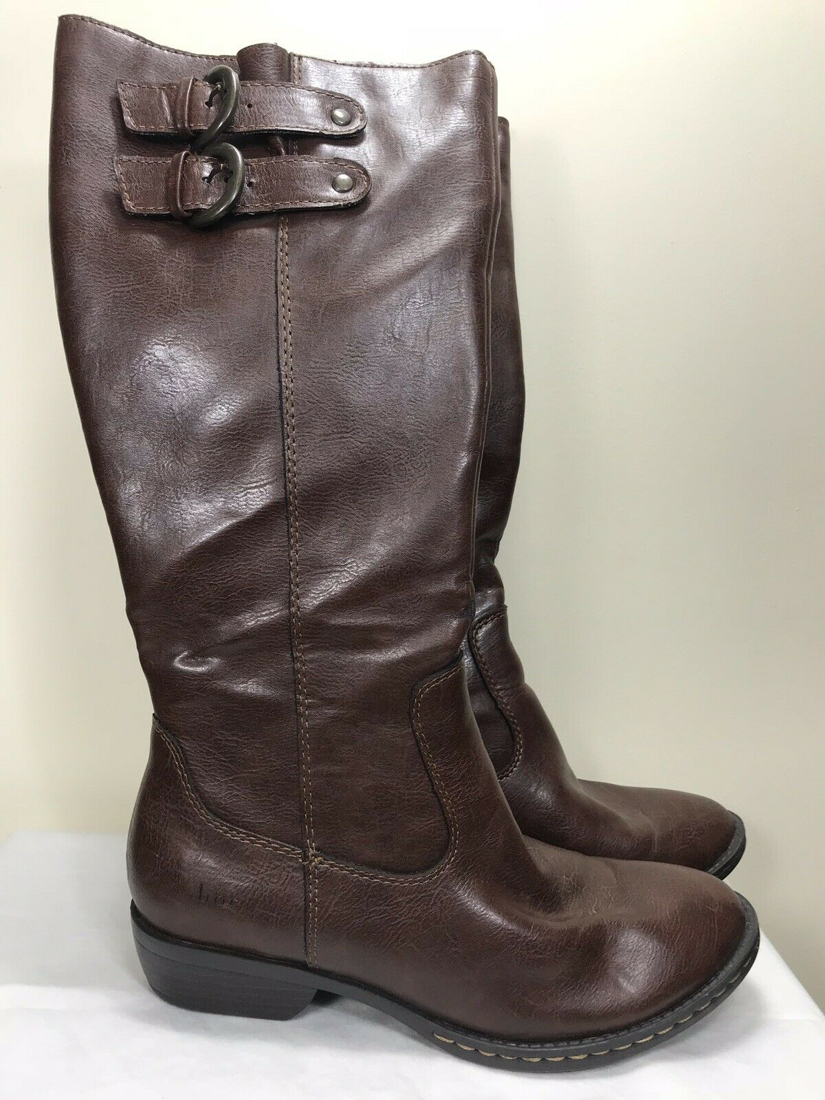 Born Sharlene Tall Calf Knee High Zip Brown Riding Style Boots C15057 Womens 6