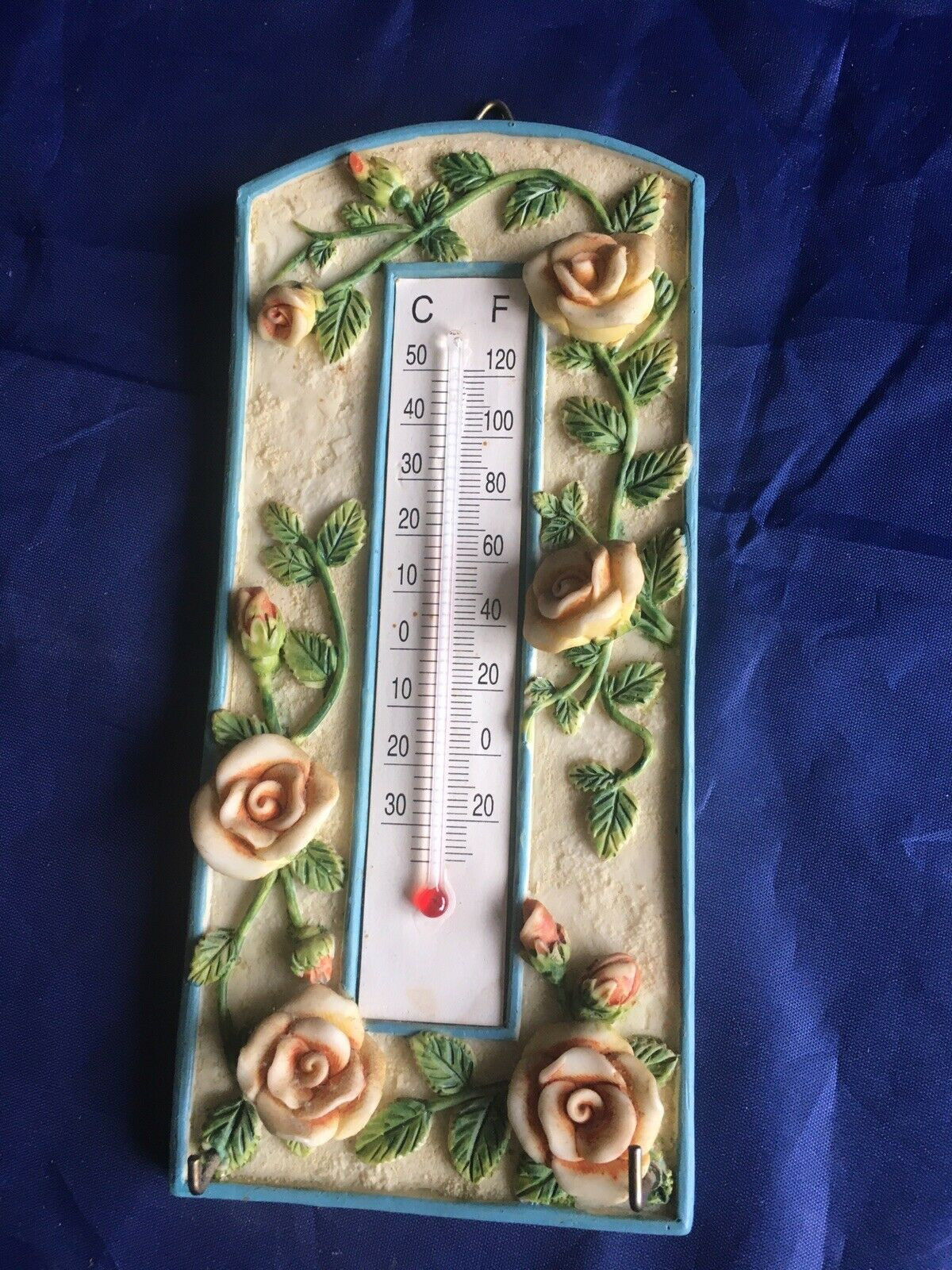Thermometer - Garden Or Home With Embossed Roses Plus Hooks For Keys