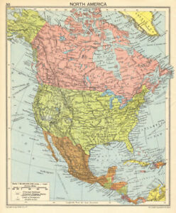 Details about North America in 1942. Second World War. US Canada Mexico  1942 old vintage map