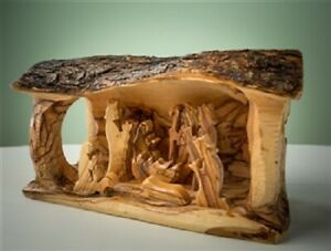 Olive-Wood-Handcrafted-Nativity-Large-Log-Grotto-Carved-in-Branch