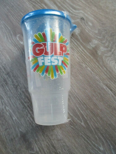7 Eleven Gulp Fest Plastic Refill Cup with Straw New Old Stock 7 11 Blue Lid