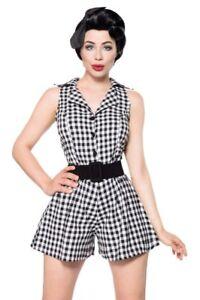 Dettagli su Tuta retrò donna Jumpsuit nero bianco abbigliamento pin up stile zip uy 50072