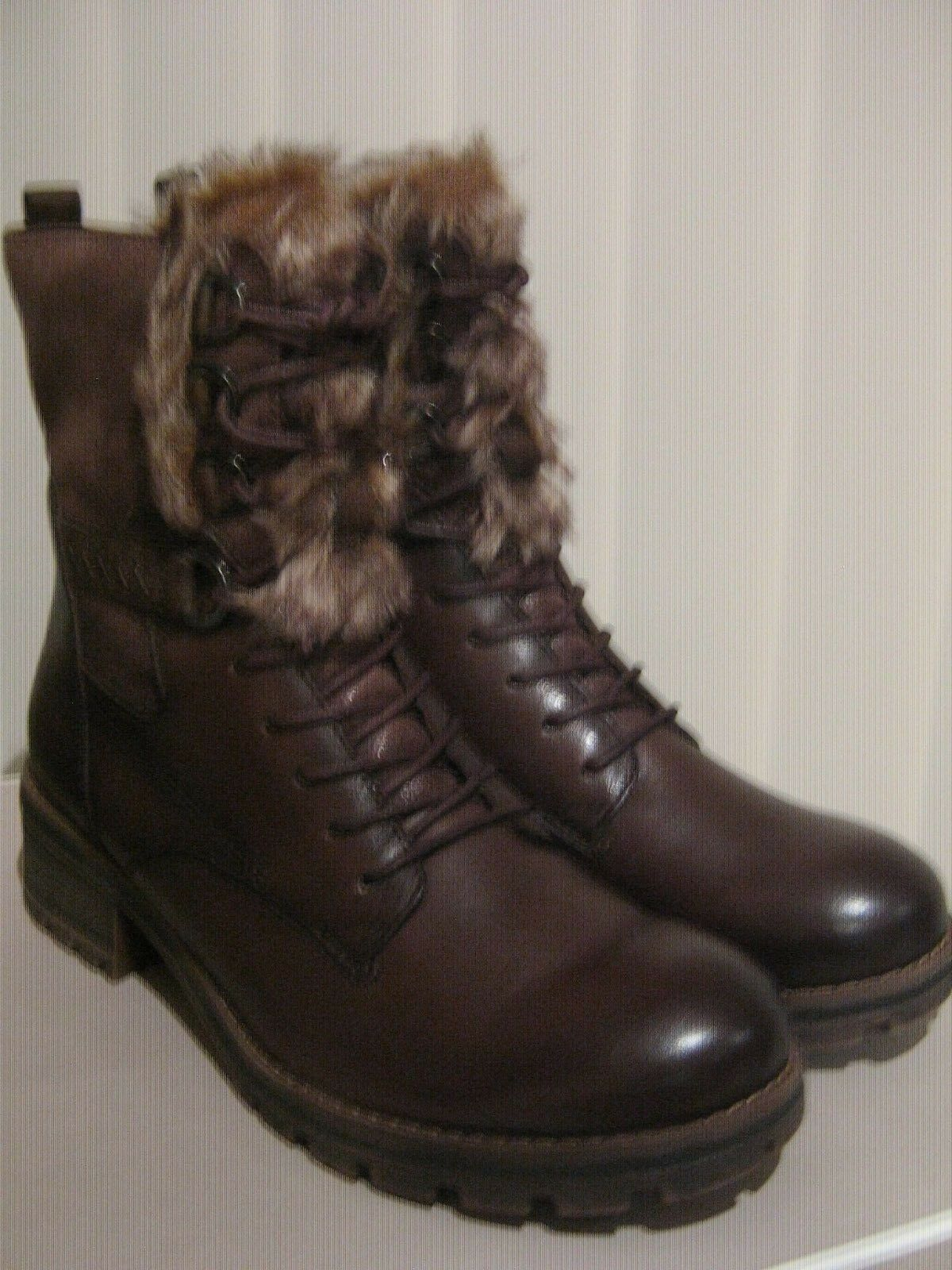 Tamaris Rich braun Leather Textile 9 Eye Lace + Zip mode Stiefel Warm Lining
