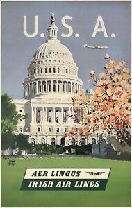 Original Vintage Poster USA AER LINGUS IRISH AIR LINES Airline Travel Tourism OL