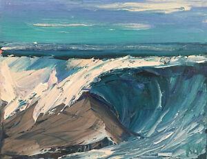 ROCK CURL TWO Original Expression Seascape Ocean Oil Painting 8x10 022319 KEN