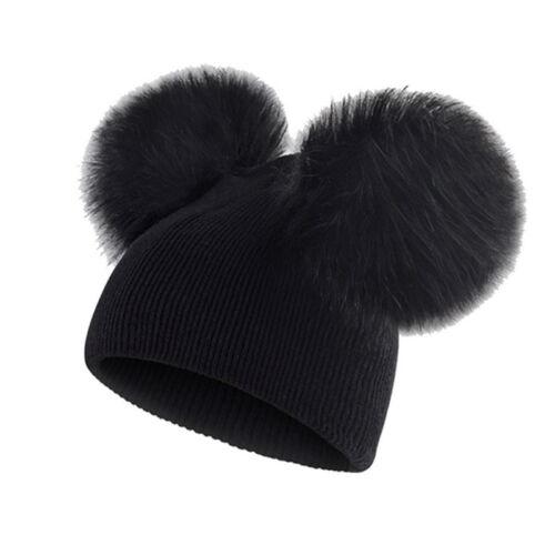 UK Kid Baby Boys Girls Beanie Hat Winter Warm Cap Double Fur Pom Bobble Knit Hat