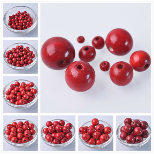 6mm~20mm Red Round Natural Wood Loose Spacer Wooden Craft Beads