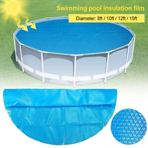 Pool Solar Cover Round Swimming Paddling Family Easy Fast Set 8/10/12/15ft Blue