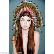 Red Tip Feather Native American Indian Headdress Coachella SH018 USA SELLER