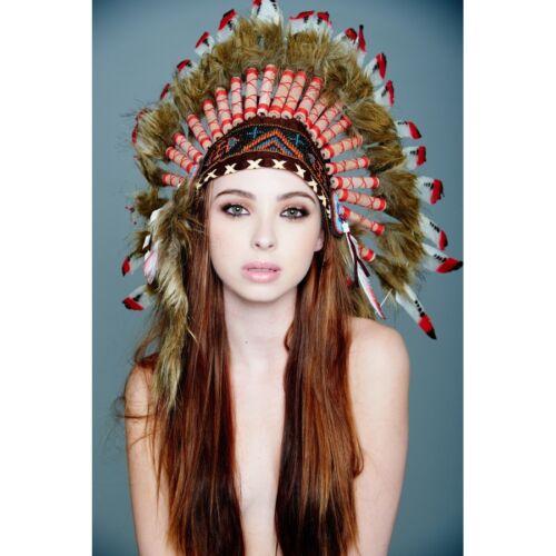 Red Tip Feather Native American Indian Headdress Coachella SH018 USA SELLER