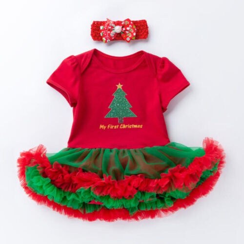 2//4PCS Newborn Baby Infant Girls Christmas Romper Headband Tutu Dress Outfits