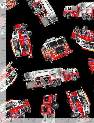 Timeless Treasures By the Yard Firefighter Fabric Tossed Fire Trucks Firefighter Truck Quilting Cotton TheFabricEdge Rescue Black