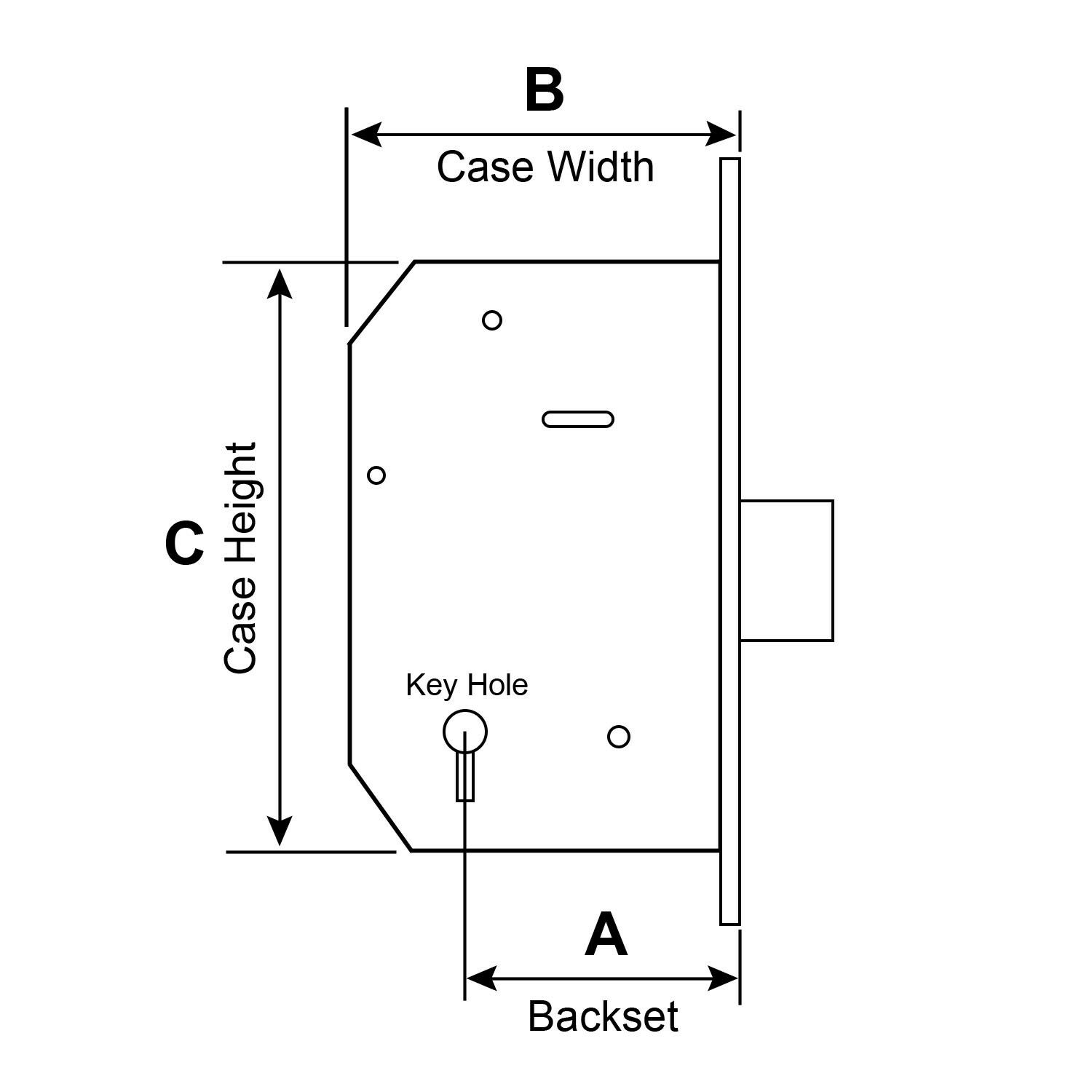please lock door. A. Backset - The Is Measured By Placing A Tape Measure Or Ruler From Center Of Keyhole To Forend Mortice Lock. Please Lock Door