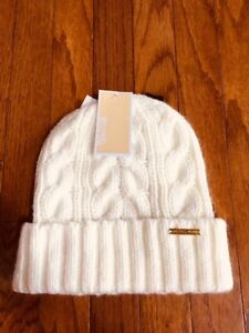 1ce184074 Details about Nwt MICHAEL Michael Kors Cream 100% Acrylic Cable Knit Cuffed  Beanie Hat Sz O/S