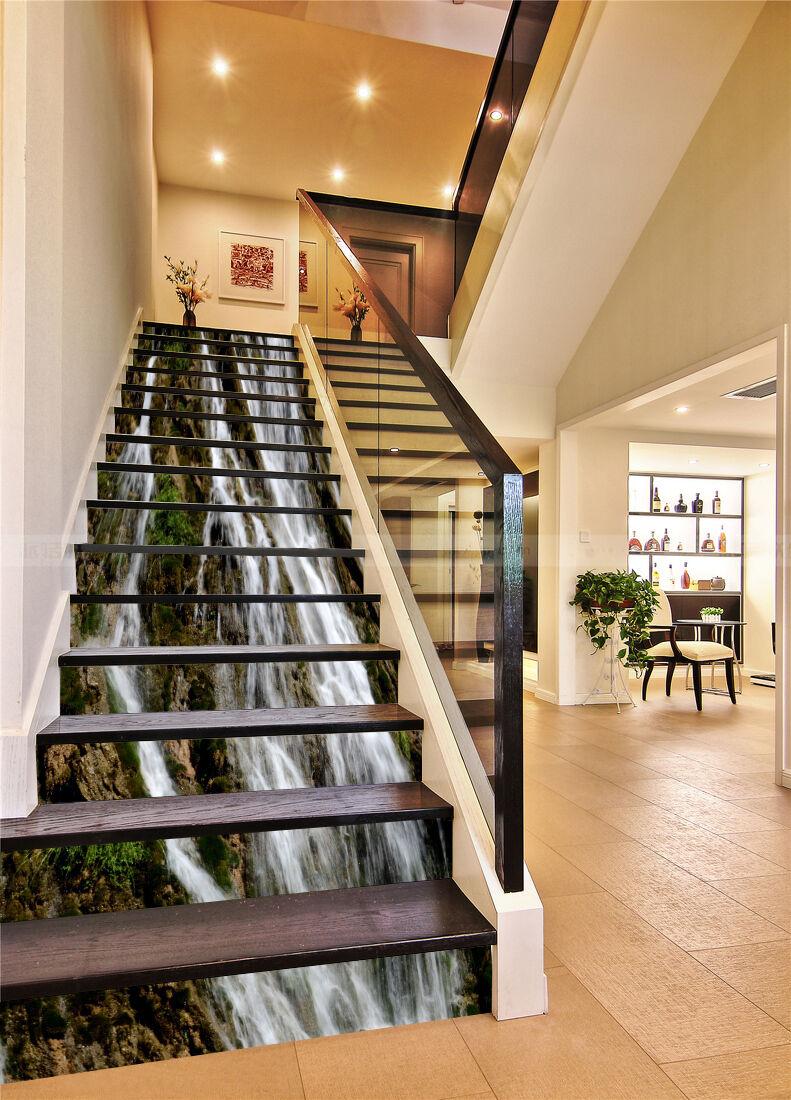 3D Cliff Rivers 131 Stair Risers Dekoration Foto Mural Vinyl Decal Wallpaper UK