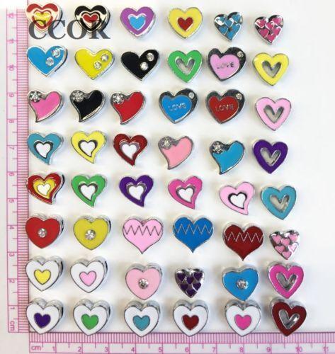 8 mm Colorful Mixed Heart Slide Charms À faire soi-même Slider Beads Fit 8 mm Bracelets Ceintures