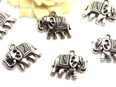 LOT DE 4 BRELOQUES CHARMS PERLES ELEPHANT 16mm CREATION BIJOUX BRACEL /_ B412