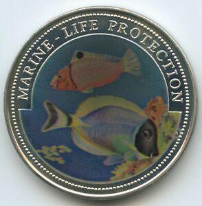 Temperate G3824 Coins: World Liberia Liberia 1 Dollar 1997 Marine Life Protection Km#570 Multicolor Farbmünze Bright In Colour