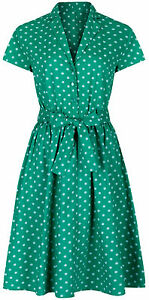1940-039-s-Retro-Vintage-Style-Green-Polka-Dot-Belted-A-Line-Shirt-Dress-NEW-8-28