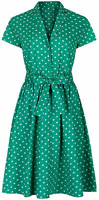 1940's Retro Vintage Style Green Polka Dot Belted A-line Shirt Dress New 8 - 28 Exquisite (In) Verarbeitung
