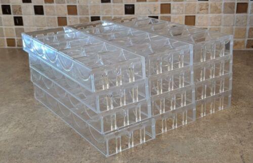 """Lot of 12 Used Bud Jones Plastic Poker Chip Trays 9 1//4/"""" 43mm racks TRUMP PLAZA!"""