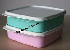 Tupperware 2 Lunch Square Divided Packette Lunch Box Pastel Pink/Mint  New