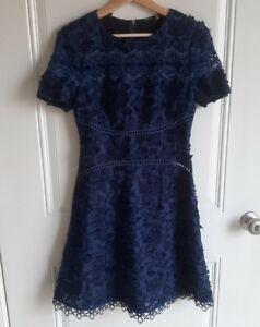 Elie Tahari Womens Navy Floral Applique Embroidered Adina Mini Dress Size 2 READ