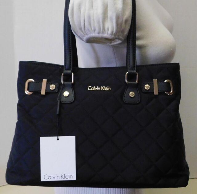 Calvin Klein Signature Black Quilted Nylon Shoulder Bag Handbag Purse Tote