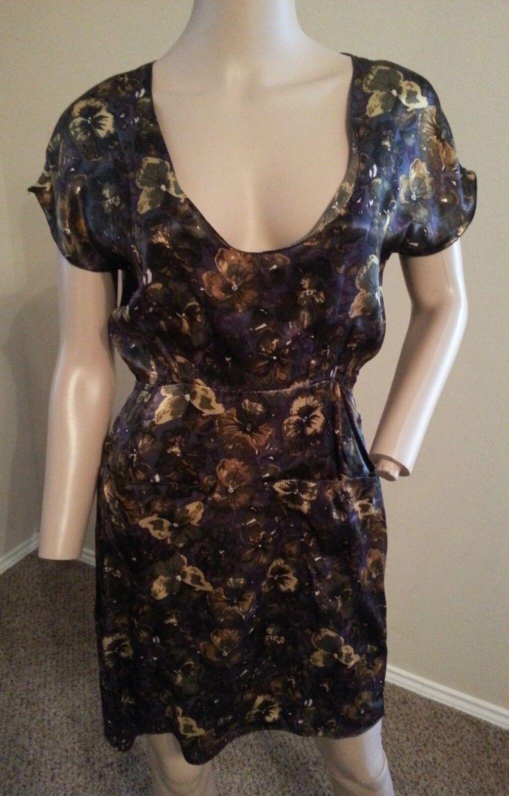 Billy Reid Italien Seide Schmetterling Blaumenmuster Kleid mit Rückenausschnitt 2