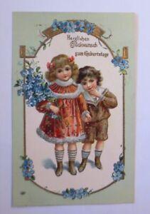 """""""Geburtstag, Kinder, Blumen,  Mode"""" 1907, Prägekarte ♥"""