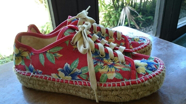 miglior prezzo POLO RALPH LAUREN ESPADRILLE rosso rosso rosso FLORAL HIBISCUS LACE-UP scarpe (donna 40 B)  prodotto di qualità