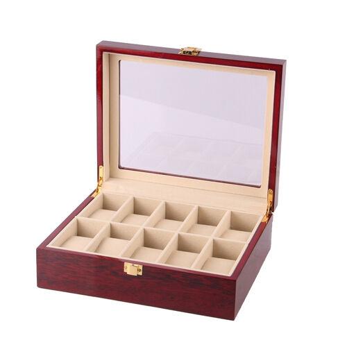10 Slot Watch Case Display Box Wood Top Glass Jewelry Storage Organizer Gift NEW
